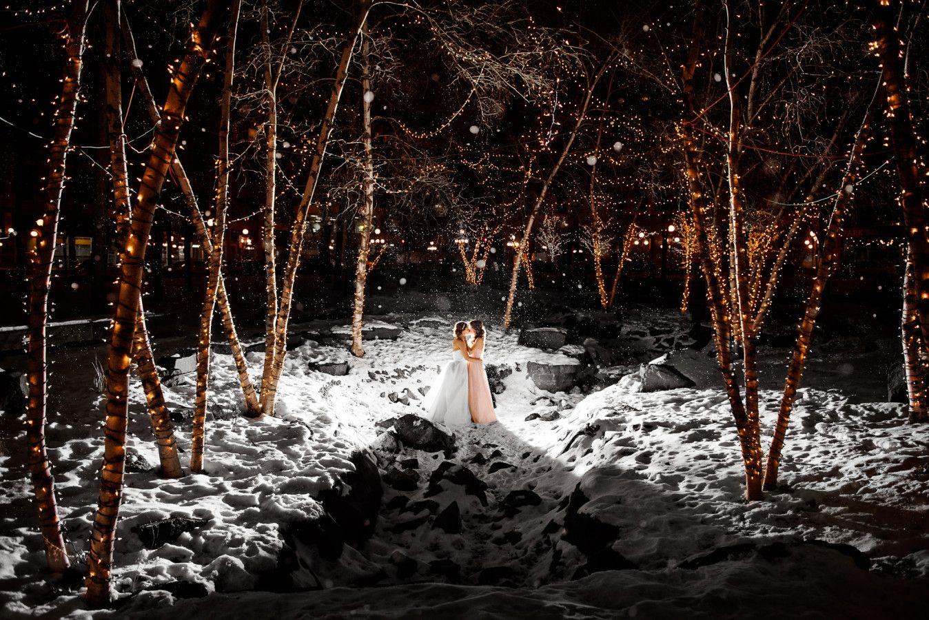 Winter wedding in St. Paul Minnesota. Lowertown Event Center. LGBT wedding. Brides. Snowy Wedding. Winter Christmas Lights. Two Brides. Lesbian Wedding.