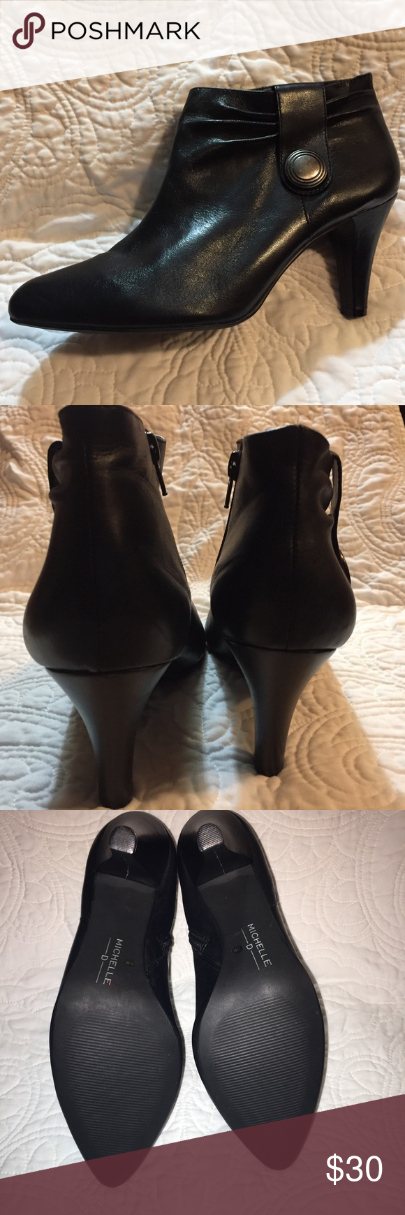 """00bf79de3118 Michelle D booties - size 11 Black leather upper with man made sole. Style   Rock 3.5"""" heel (measured from back) There is a small crack for the inside  right ..."""