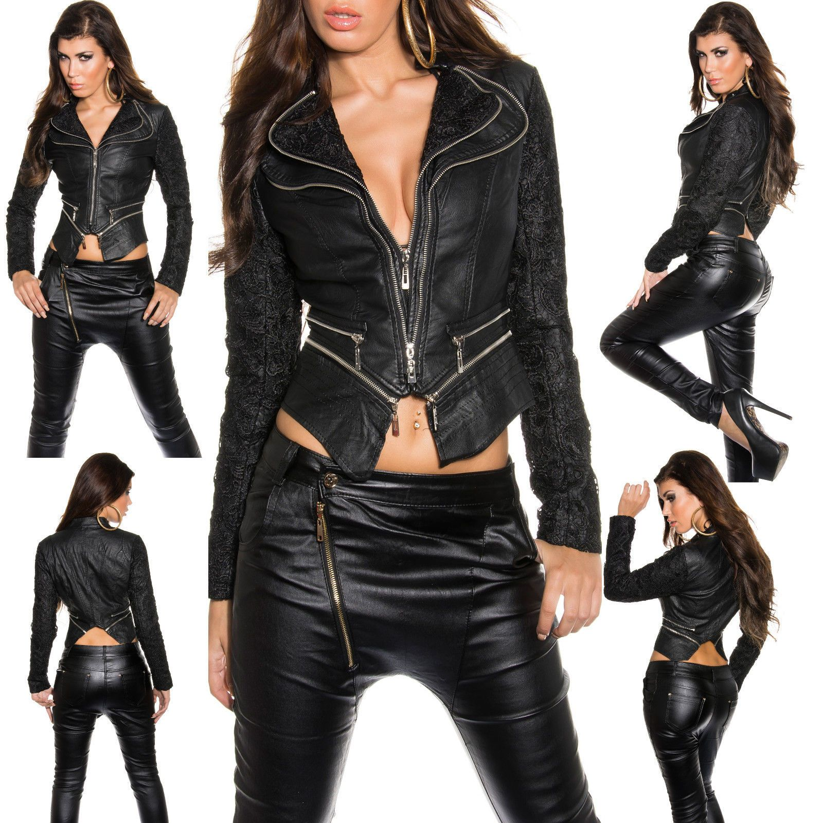 New Women Coat Black Biker Leather Long Sleeve Ladies