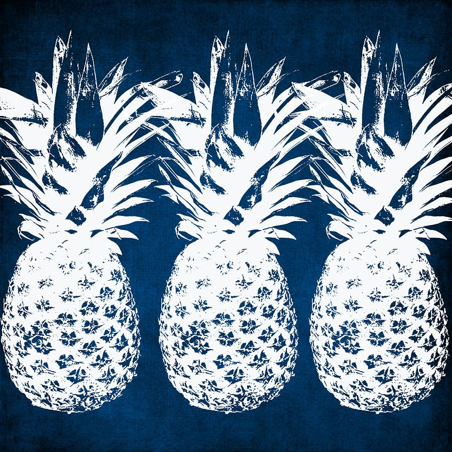 Indigo And White Pineapples By Linda Woods Pineapple Art Print Pineapple Art Outdoor Decorative Pillows