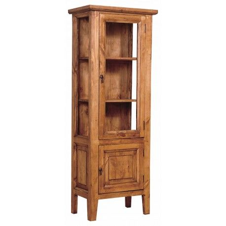 China Hutch With Gl Rustic Pine Wood And Curio Display