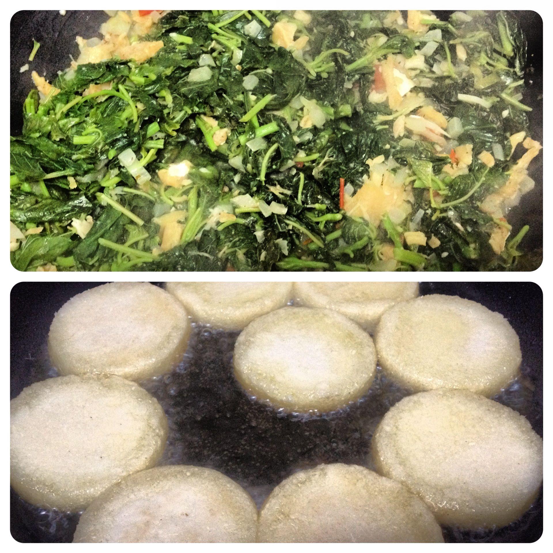My favorite breakfast - Callaloo, Salt Fish, and Bami   My Irie ...