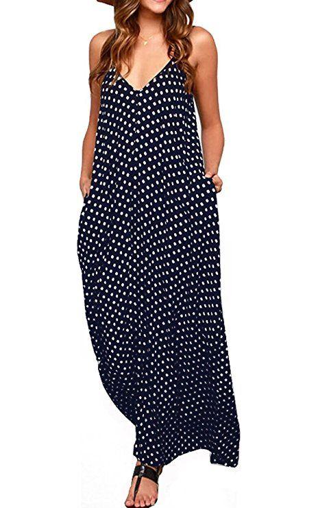 3fed708074 LILBETTER Women V-neck Polka Dot Print Spaghetti Strap Boho Long Maxi  Dresses at Amazon Women s Clothing store