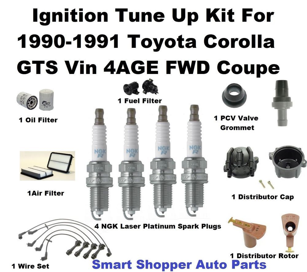 Tune Up Kit For 1990 1991 Toyota Corolla Gts 4ge Factory Fuel Filter Oil Spark Plug Pc