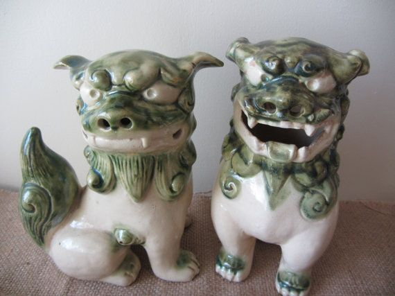 Chinese Ceramic Foo Dog Statues By Hyvalleyherbs On Etsy