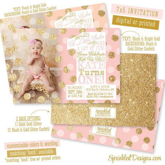 First Birthday Girl Invitation Photo Card Blush Pink Gold