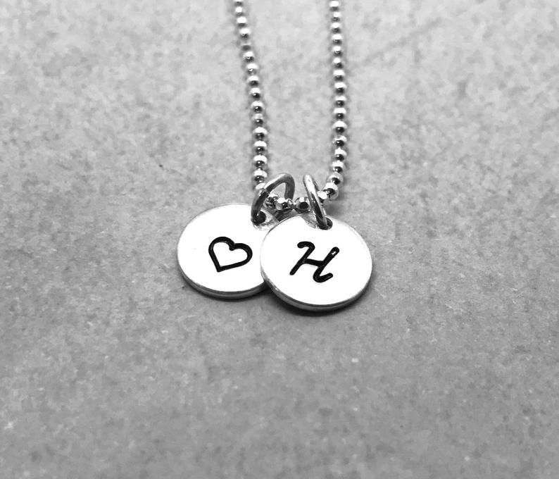 Initial Necklace with Heart, Sterling Silver, Heart
