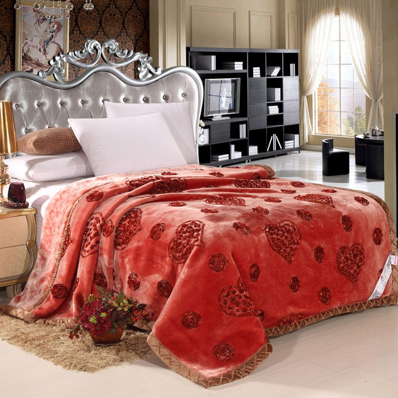 Aliexpress Com Buy Romantic Heart Shaped Embroidered Raschel Blankets Thick Warm Wedding Blanket Quality Autumn And Win Wedding Blankets Warm Wedding Blanket
