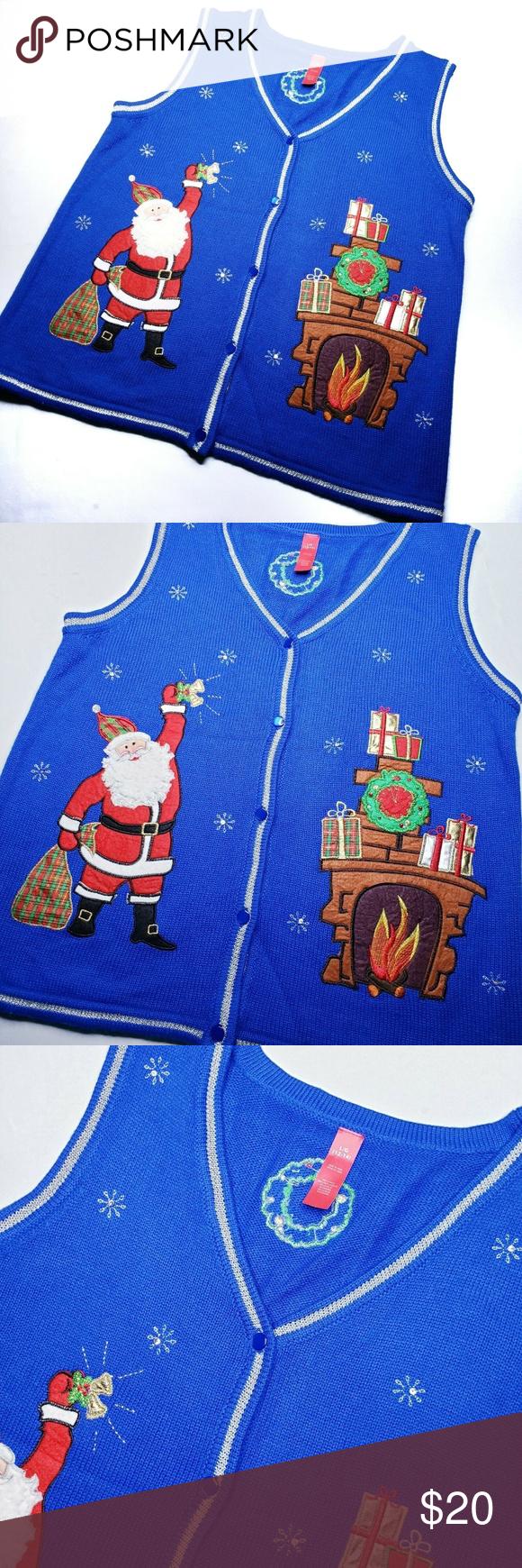 Blau hässliche Weihnachtsstrickpullover Weste Größe 1214