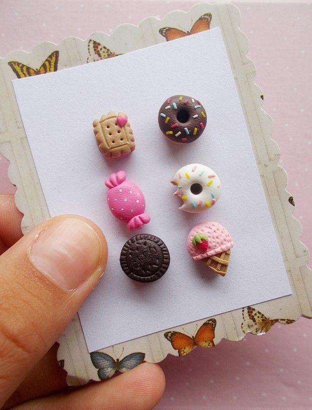 Photo of Süße Miniatur Ohrringe aus Polymer: Donut, Bonbon, Oreo Keks / sw