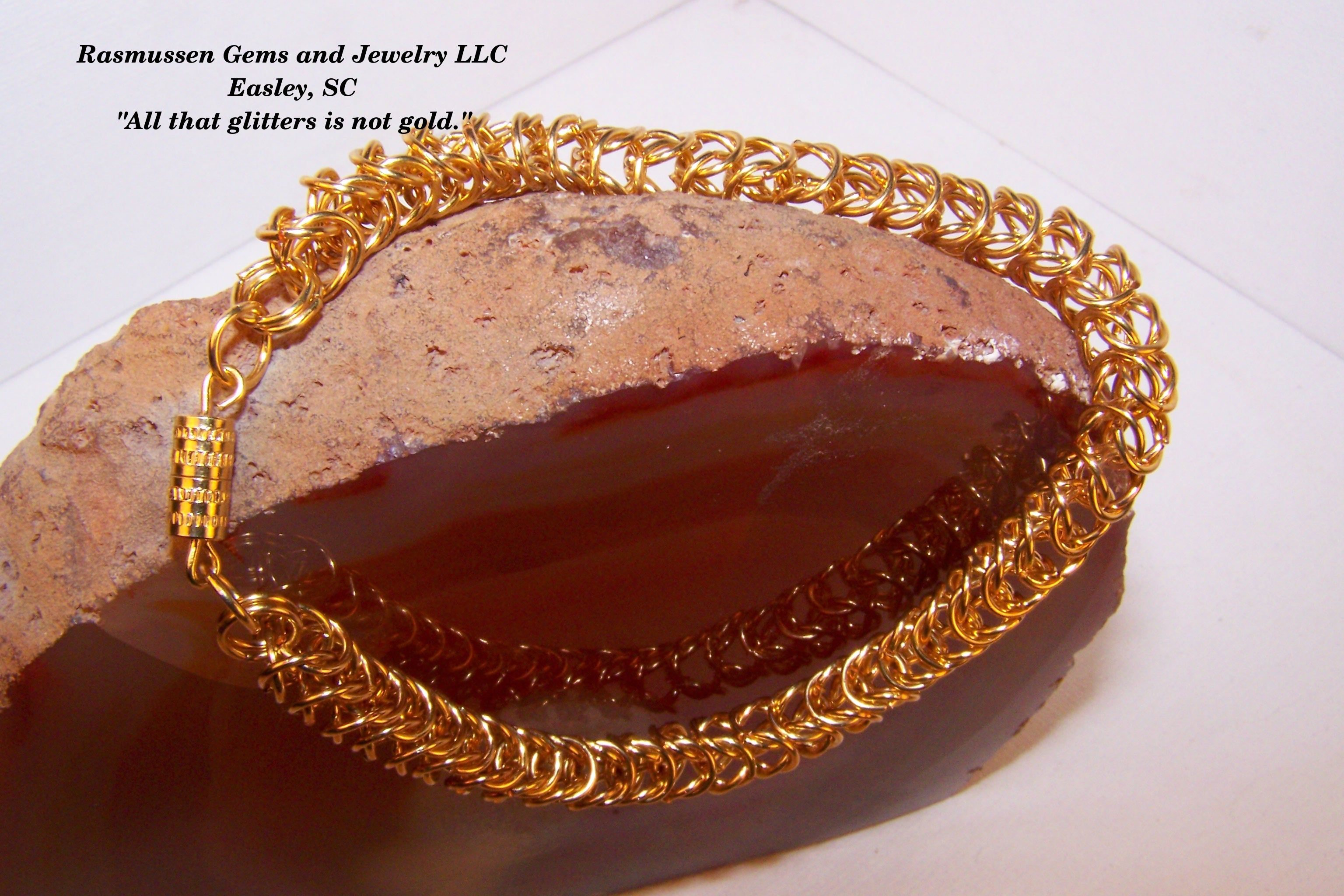 Byzantine chain bracelet, 8.5 inches end to end.  Made with gold plated brass 6 mm rings.