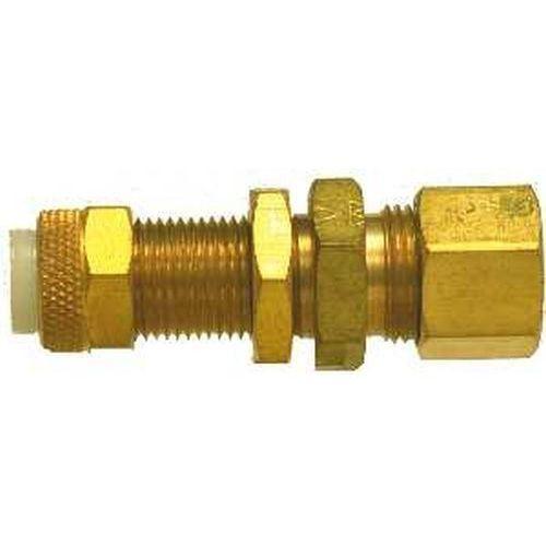 20334 | Midland | 3/8 POLY-FLO X COMP BULKHD UNION | Brass Fittings | Flareless | Bulkhead Union Flareless x Compression