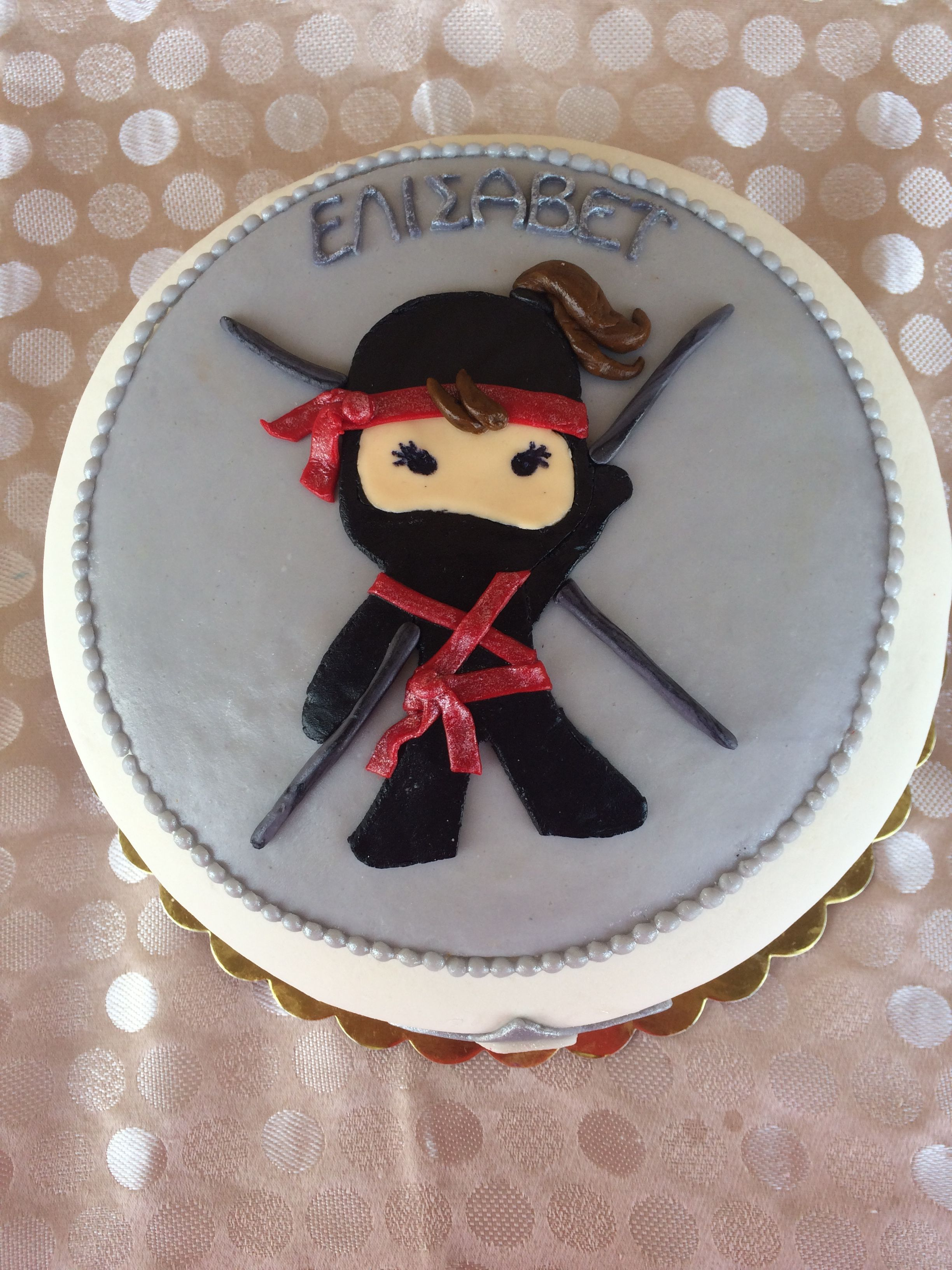 Excellent Ninja Girl Birthday Cake With Images Birthday Cake Girls Birthday Cards Printable Inklcafe Filternl