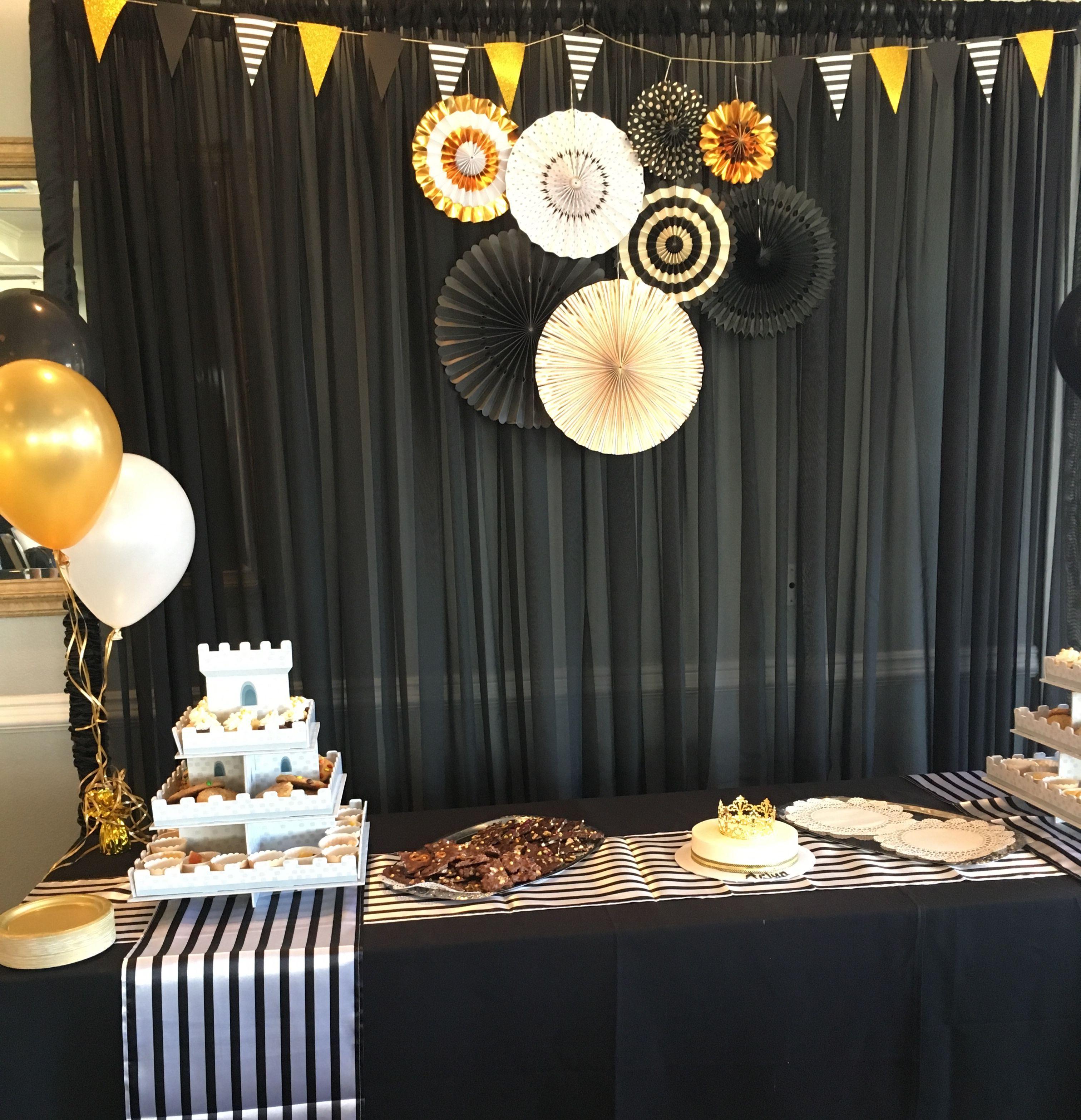 Black Drape Backdrop For 1st Birthday Party.