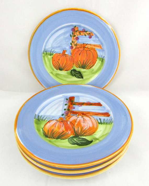 4 Mesa International Handcrafted Fall Thanksgiving Pumpkin Patch Dinner Plates #fall #thanksgiving #pumpkin  sc 1 st  Pinterest & 4 Mesa International Handcrafted Fall Thanksgiving Pumpkin Patch ...