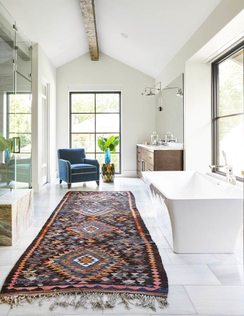 Large pattern runner rug in bathroom design | Tatum Brown Custom ...