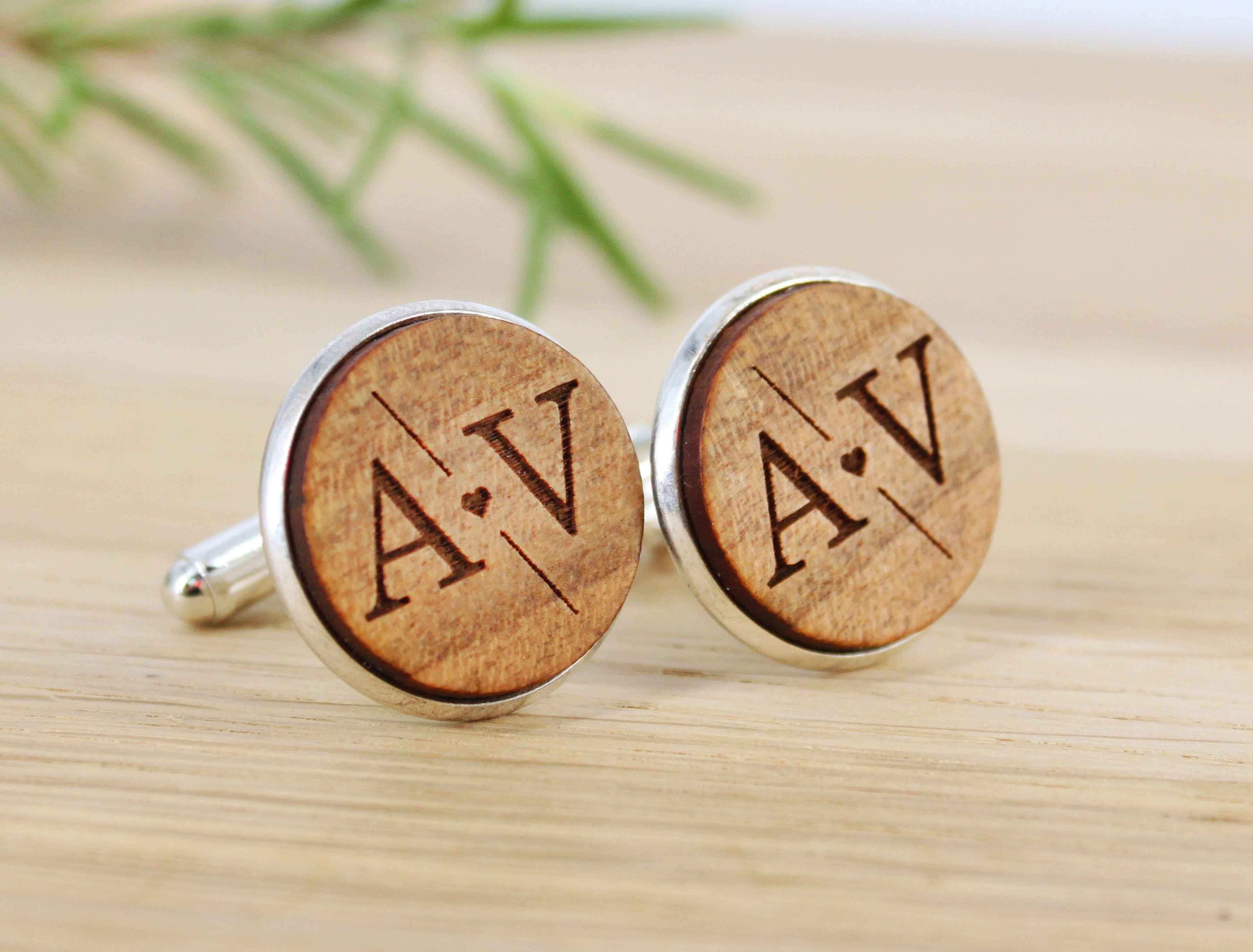 Personalized Wooden Cufflinks  Custom Monogram Engraved