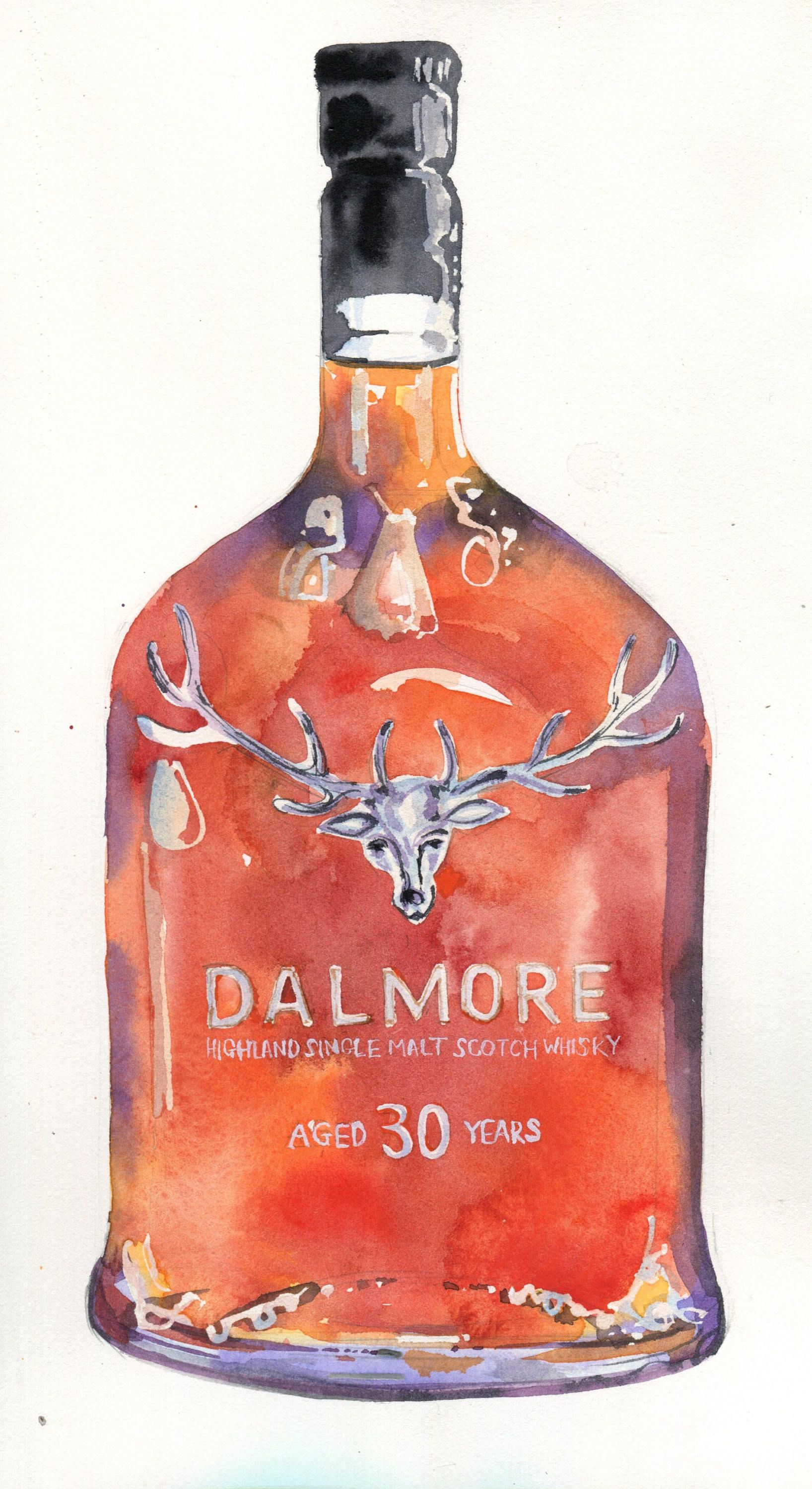 Custom Watercolour Painting Of An Alcohol Liquor Bottle Gin