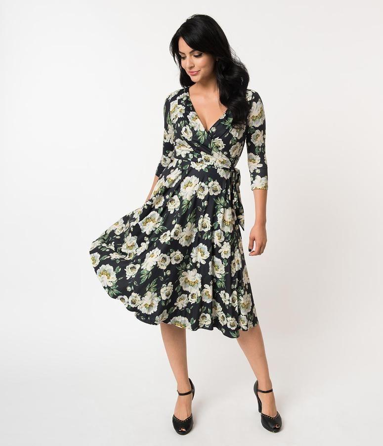 449fa775c1dc4 Unique Vintage 1940s Style Black   Ivory Floral Print Kelsie Wrap Dress