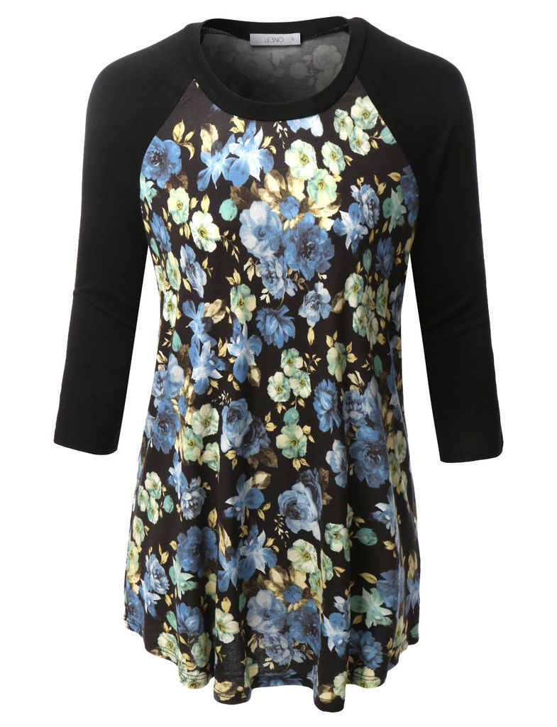 0a391f89761e9 LE3NO Womens Plus Size Floral Print Round Neck 3 4 Sleeve Baseball T Shirt