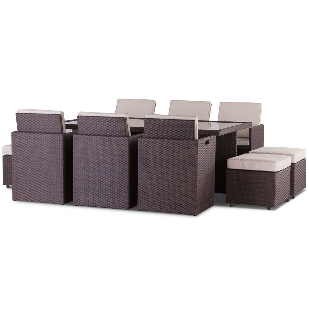 Cannes 6 8 Seater Brown Rattan Cube Set Patio Garden 400 x 300