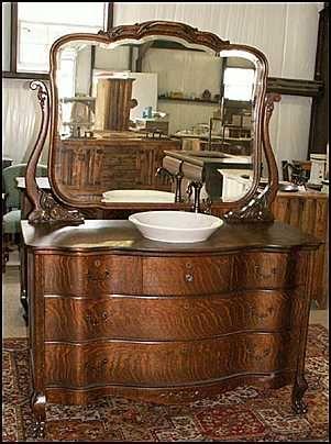 Photo of front view antique bathroom vanity tiger oak - Antique bathroom vanities for sale ...