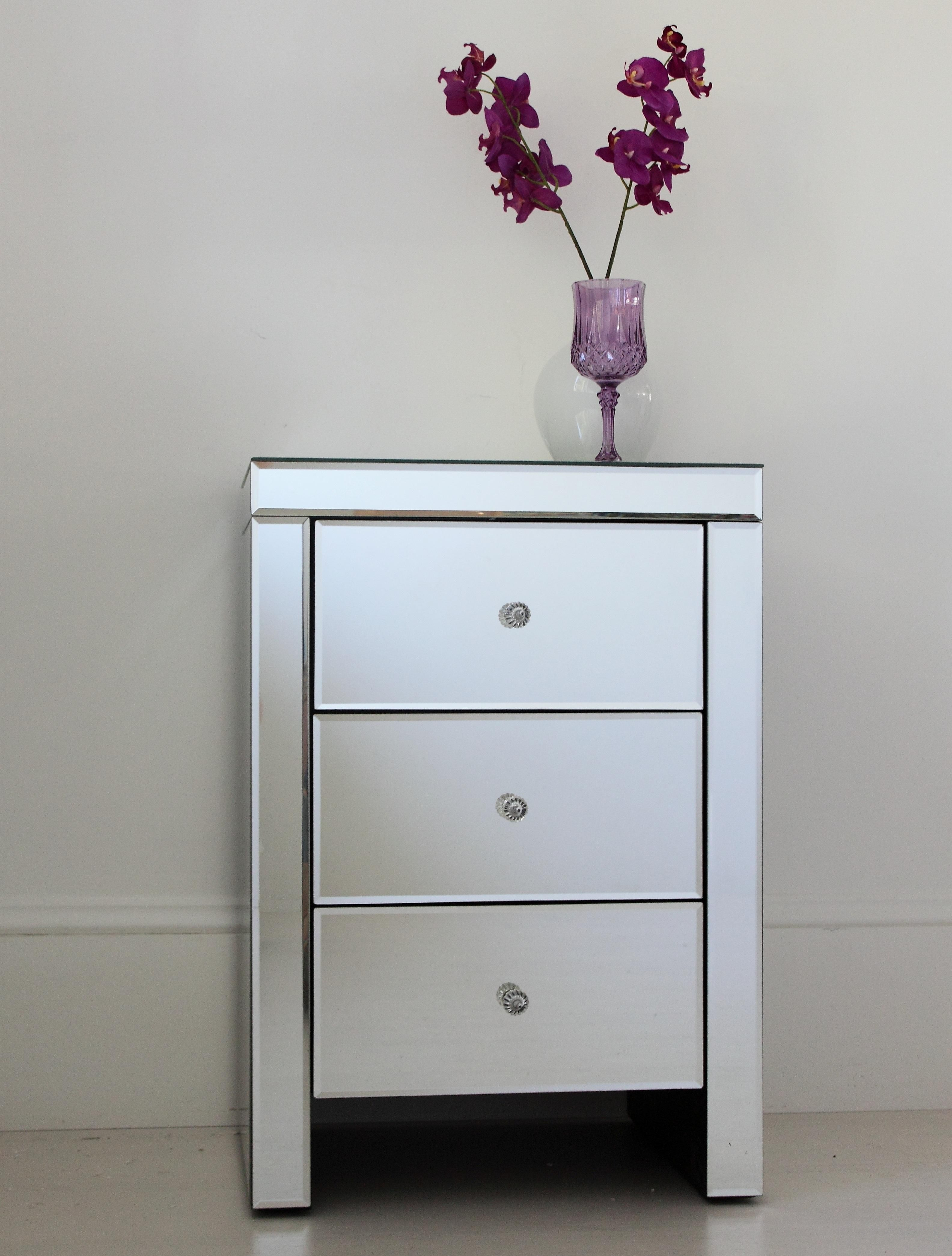 Mirrored bedside table mirror bedside table cut glass and master