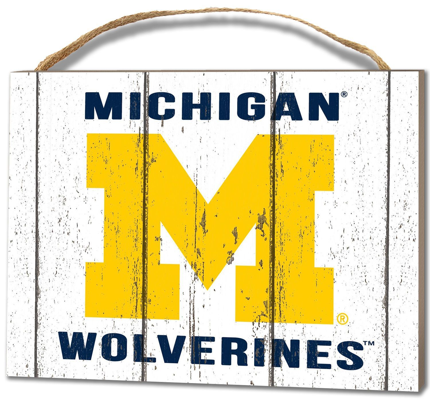 Michigan Wolverines Small Plaque - Weathered Logo