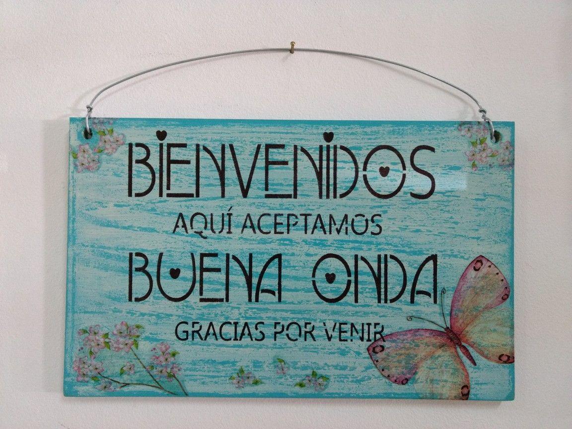 Cartel de Bienvenidos | marcos en madera decorados | Pinterest ...