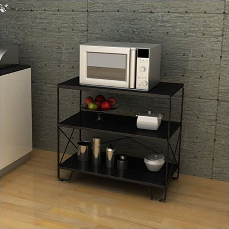 Small Black Microwave Cart With Storage