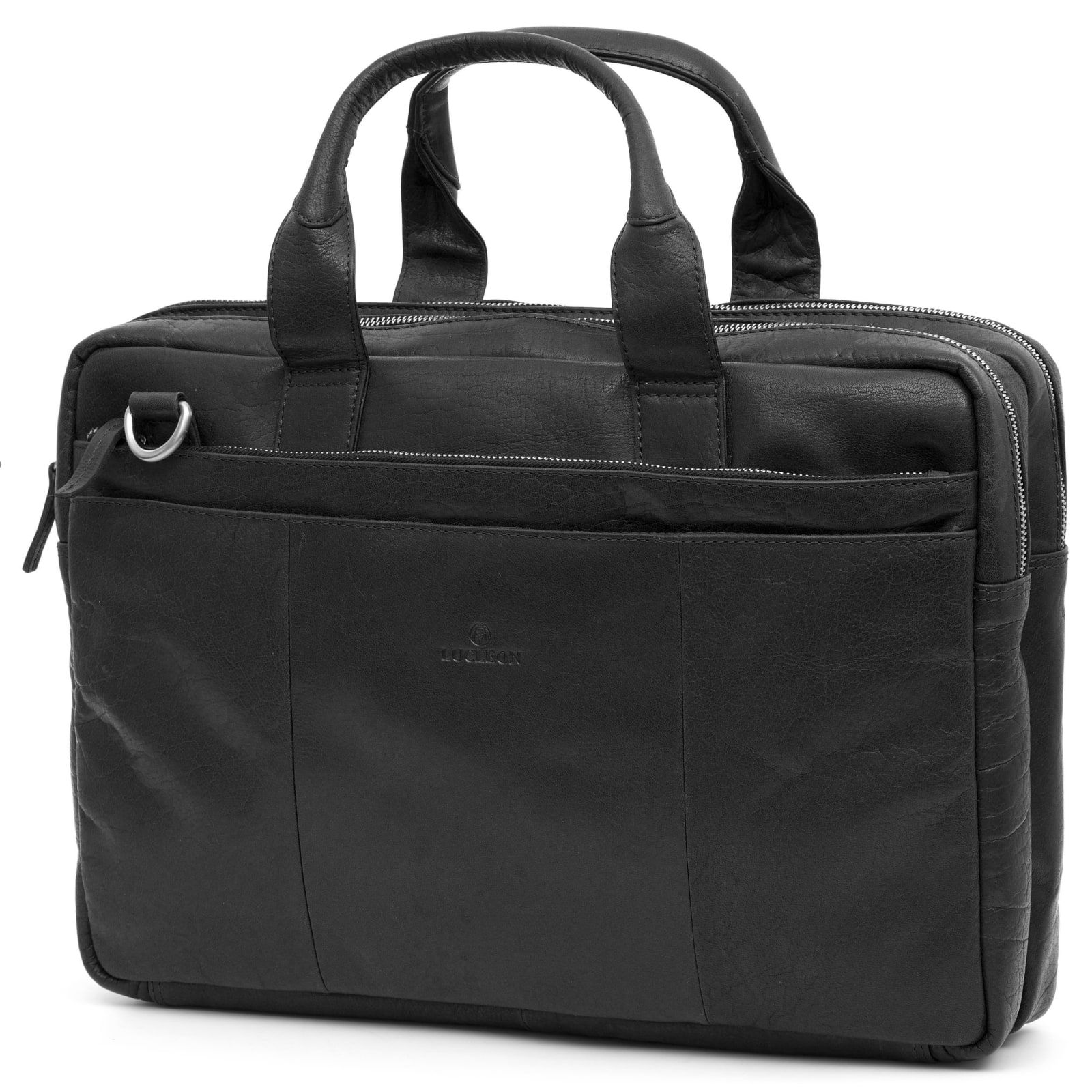 Photo of Montreal Black Leather Laptop Bag | In stock! | Lucleon