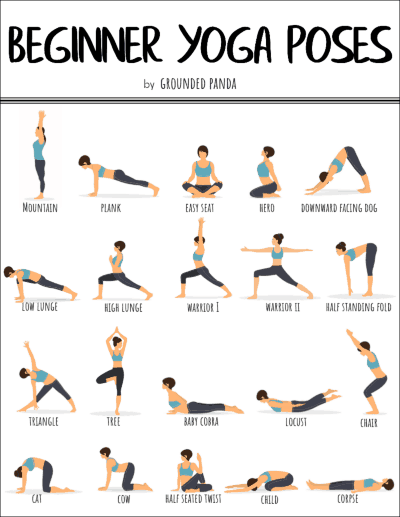 20 Yoga Poses For Complete Beginners Free Printable Easy Yoga Workouts Yoga Workout Routine Basic Yoga Poses