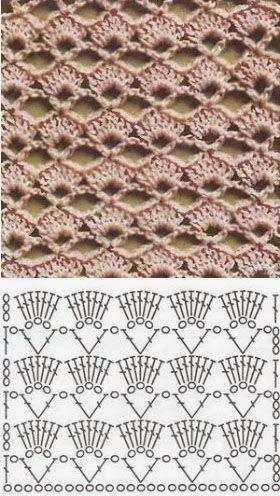Crochet diamond stitch | | Model croset | Pinterest | Patrones ...