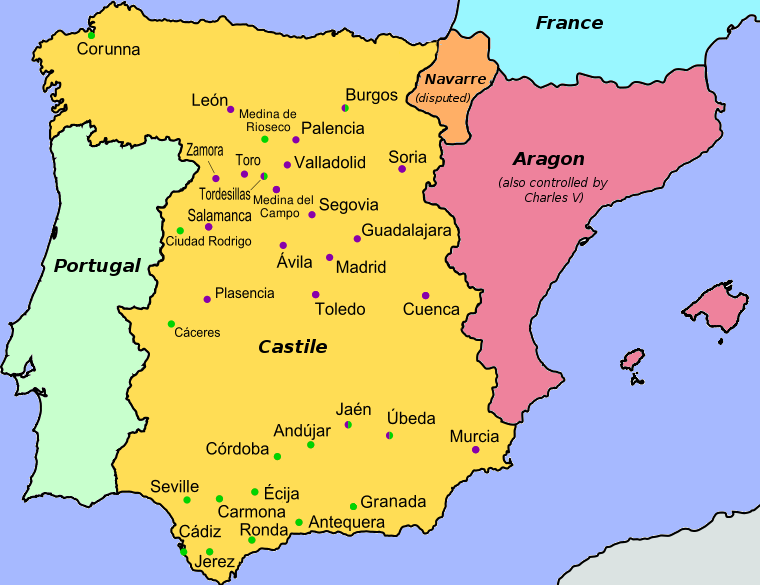 Map of Spain with cities colored by affiliation, Revolt of the ...
