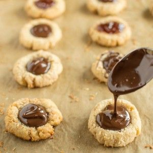 Coconut Chocolate Thumbprints - Healthy Nibbles & Bits
