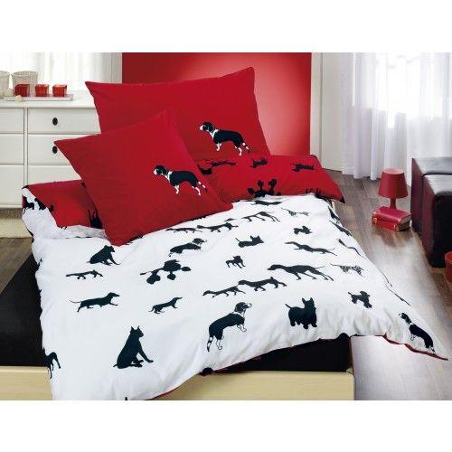 Hunde Motiv Bettwäsche Rot Weiss Hundebetten Bettwäsche Rot