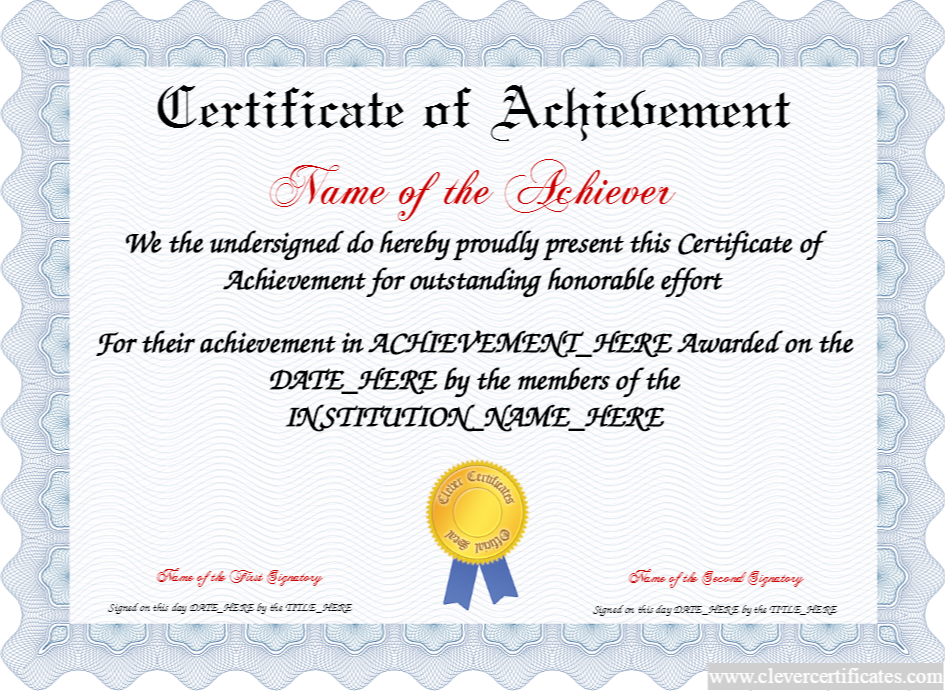 Certificate Of Achievement! FREE Certificate Templates! You Can Add Text,  Images, Borders  Free Certificate Of Achievement