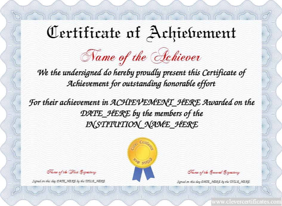 Certificate of Achievement FREE Certificate Templates You can – Free Certificate of Achievement