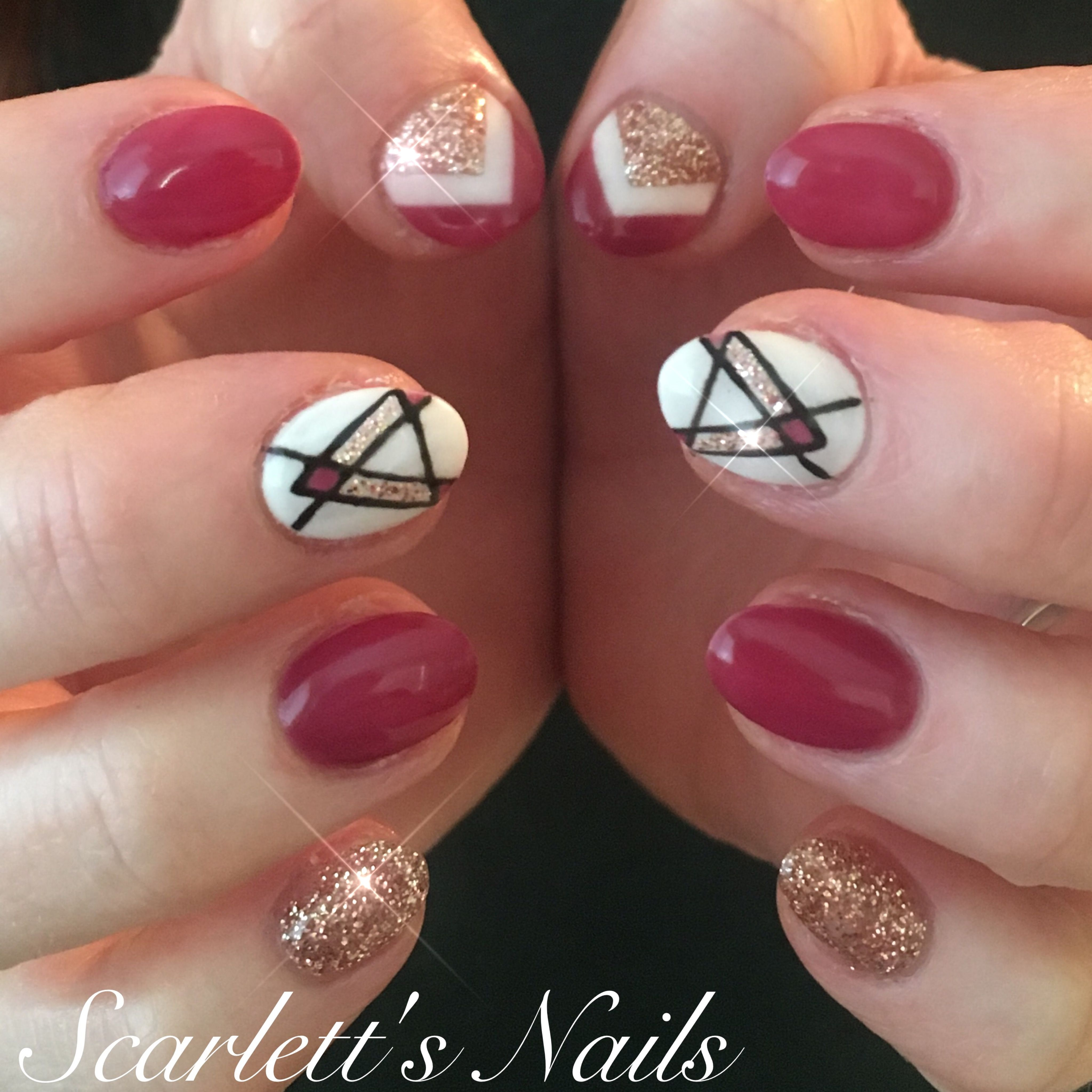 Maroon rose gold glitter white chevron round gel nails with hand ...