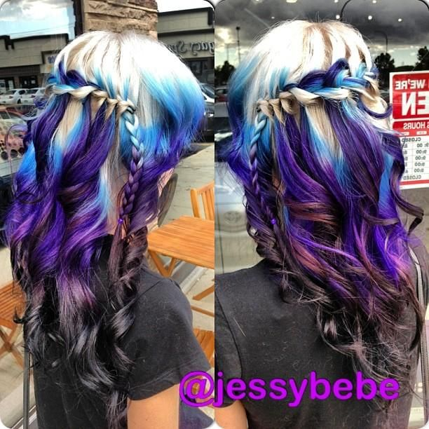 This Is Beautiful Blue Blonde Purple And Black Ombre Hair Hair Styles Cool Hair Color Hair Color Crazy