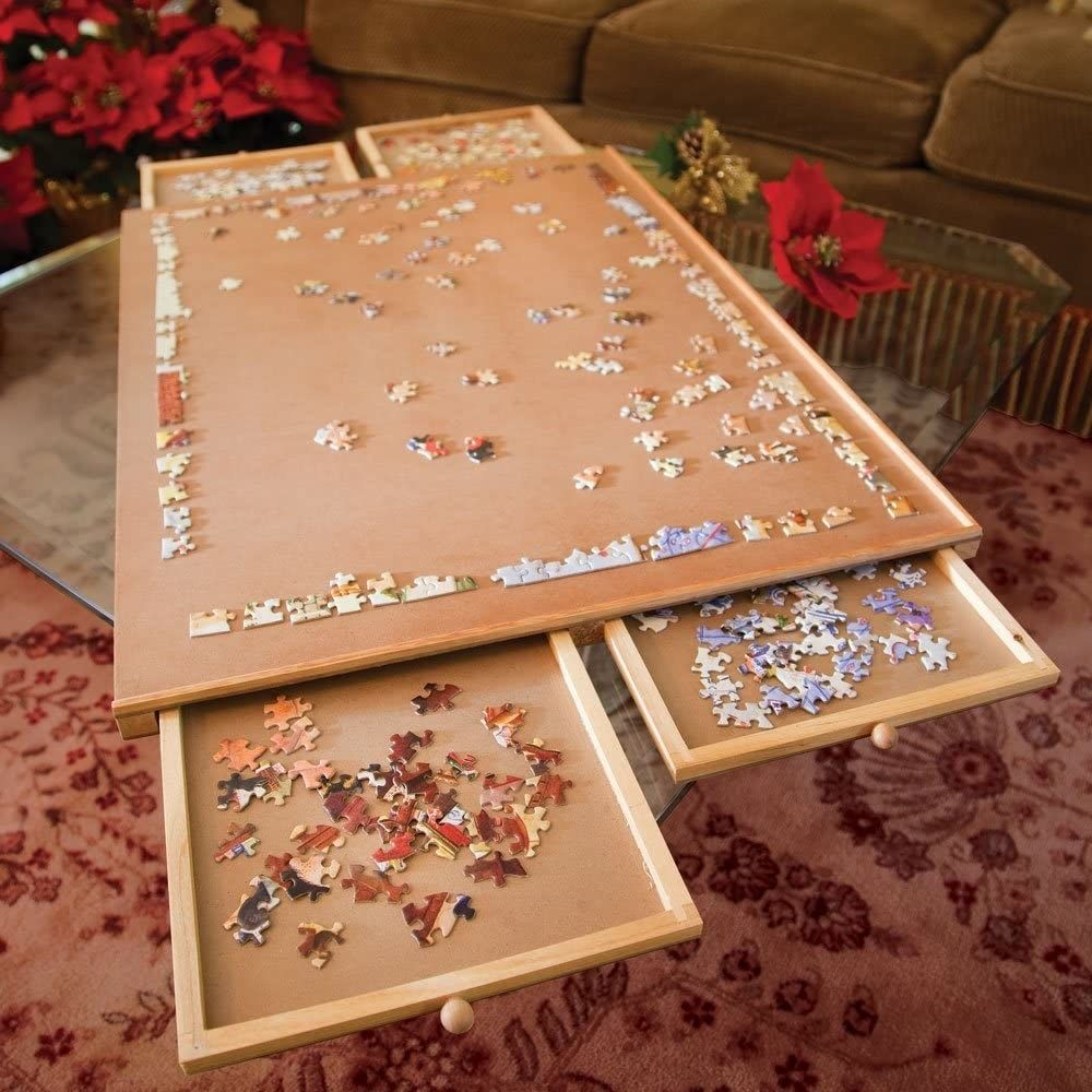 A Handy Puzzle Board If You And Your Partner Are Big On Puzzles But Small On Space It Has Four Drawers To Store Puzzle Pieces And Provides A Large Enough Flat