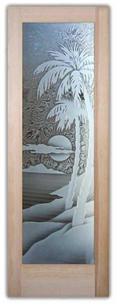 Glass Door Beach Decor Frosted Glass Tropical Palm Tree Sunset Front Doors Pinterest Glass