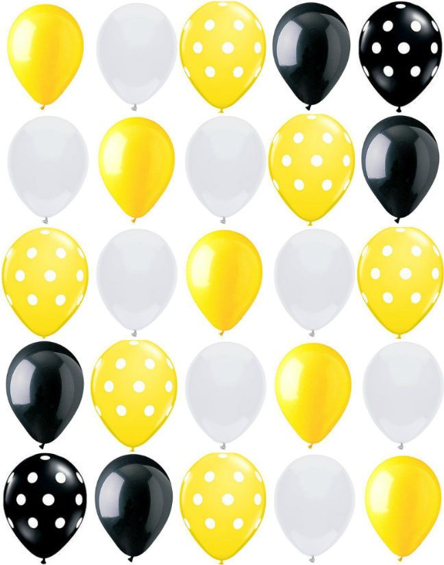 25ct Polka Dot BUMBLE BEE MIX Yellow Black White 11 Latex Party Balloons