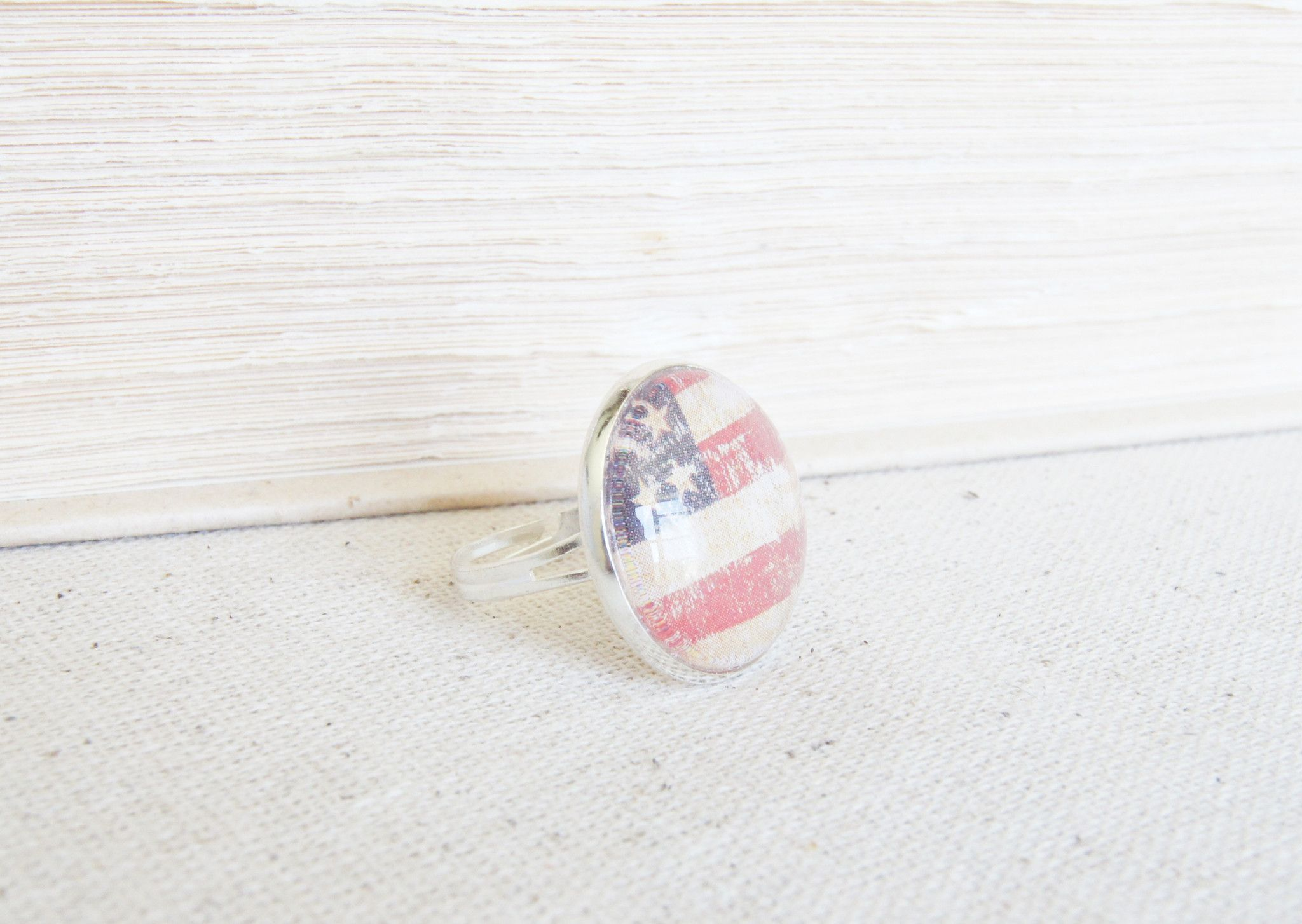 American Flag Silver Ring