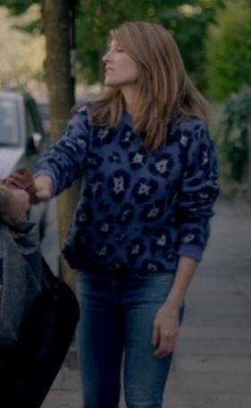 10577b7235ba Sharon Horgan on Catastrophe: Season 2, episode 6: purple leopard sweater  and blue jeans