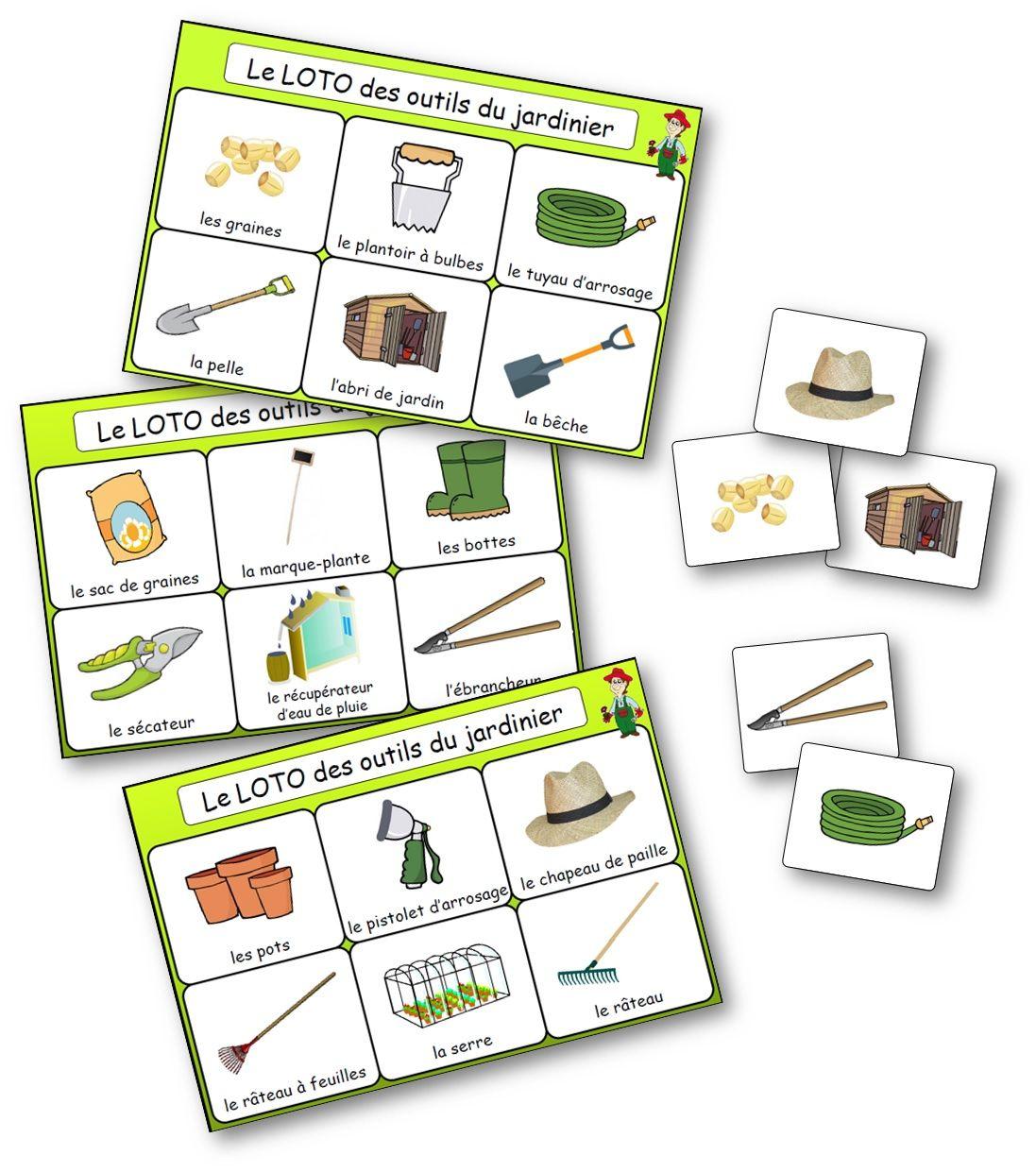 Le loto des outils du jardinier - Jeu de bingo du jardinage ...
