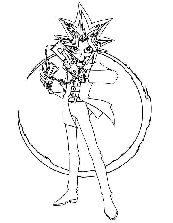 Yugi Muto Possess By Mysterious Gambler Spirit In Yu Gi Oh Coloring Page Netart Coloring Pages Yugioh Coloring Pictures