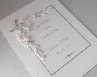 Carte De Félicitations Mariage Personnalisé Fait Main Piquants Papier Quilling