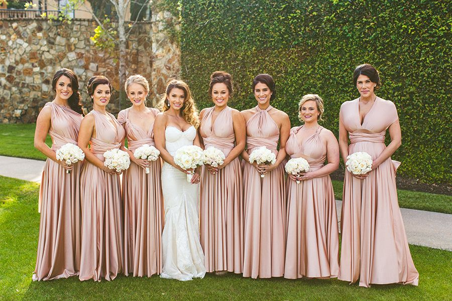 6cd09fd1b50fa Rosewater pink twobirds Bridesmaid dresses | A real wedding featuring our  multiway, convertible, twist wrap dresses | Completely chic and white  classic ...