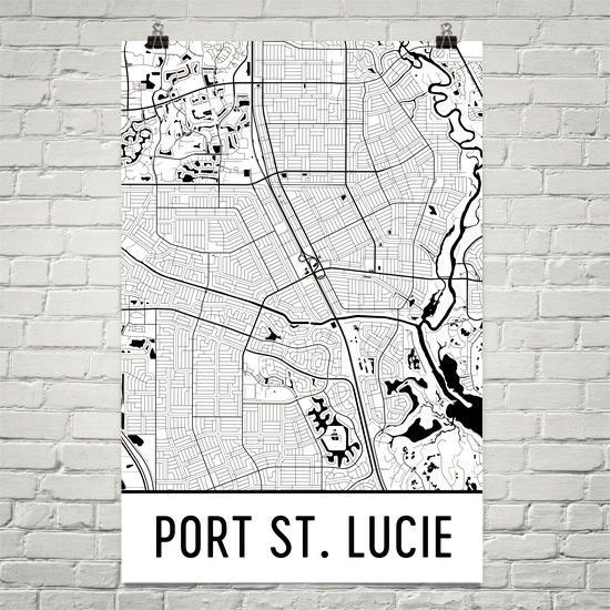 Where Is Port St Lucie Florida On The Map.Port St Lucie Florida Street Map Poster Products Pinterest